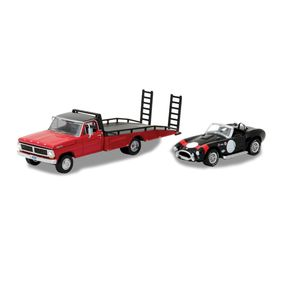 Miniatura-HD-Trucks-1-64-Greenlight-Ford-F-350-com-Ford-Shelby-Cobra-427-S-C--1965-