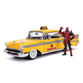 Miniatura---1957-Chevrolet-Bel-Air---Taxi-Deadpool---1-24---Jada